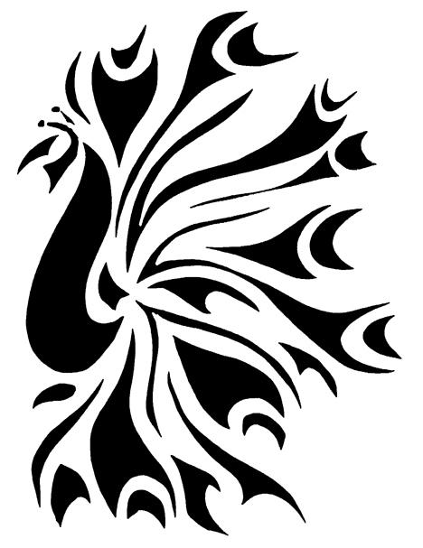 Superb black tribal peacock tattoo design