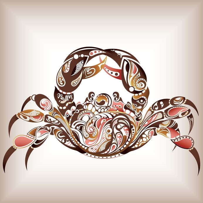 Superb brown-and-red ornamented crab tattoo design
