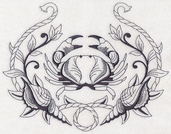 Superb crab framed with rope and shells decoratons tattoo design