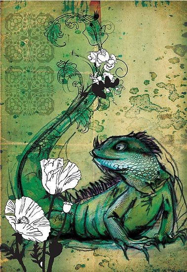 Superb green lying reptile and white flowers tattoo design