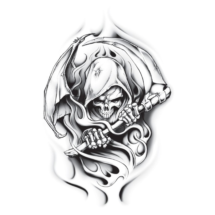 Superb grey-ink death with a scythe in smoke tattoo design
