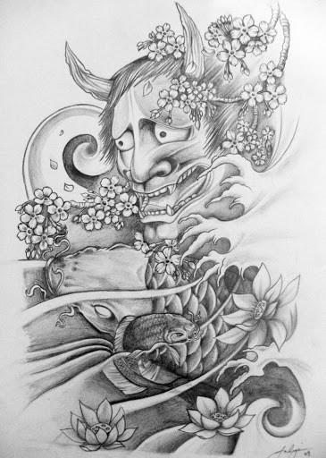 Superb grey-ink oriental demon and koi fish tattoo design by Julian Spano