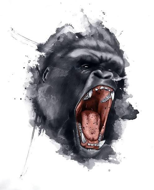 Superb grey watercolor gorilla tattoo design