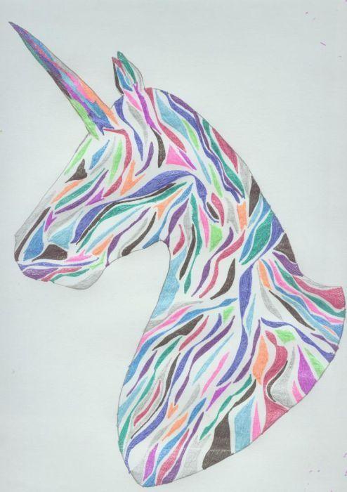 Superb multicolor unicorn head in geometric style tattoo design