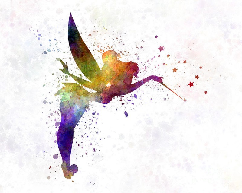 Superb rainbow watercolor fairy silhouette with a wand tattoo design