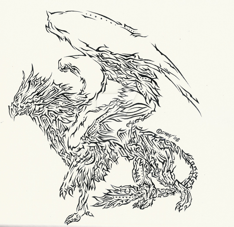 Superb trabal griffin with a lot of small elements tattoo design