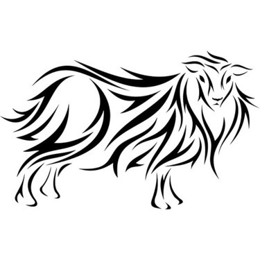 Superb tribal sheep with long fur tattoo design