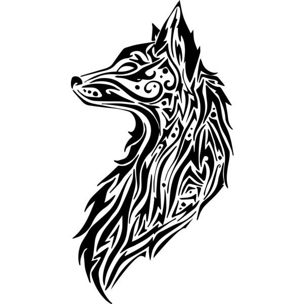 Superior tribal fox portrait in profile tattoo design
