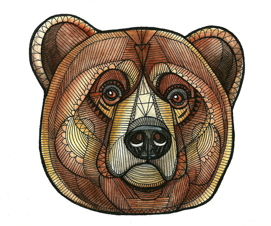Surprised brown patterned bear tattoo design by Stephie Bailey