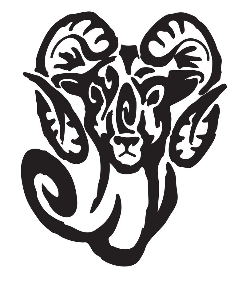 Surprised tribal ram portrait tattoo design by Redvarg