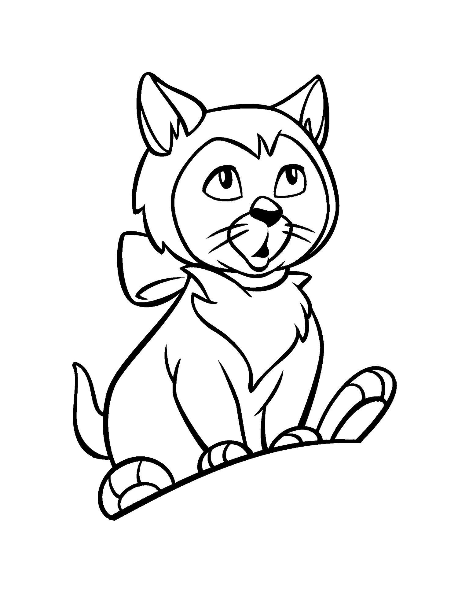 Surprised uncolored cat with a bow collar tattoo design