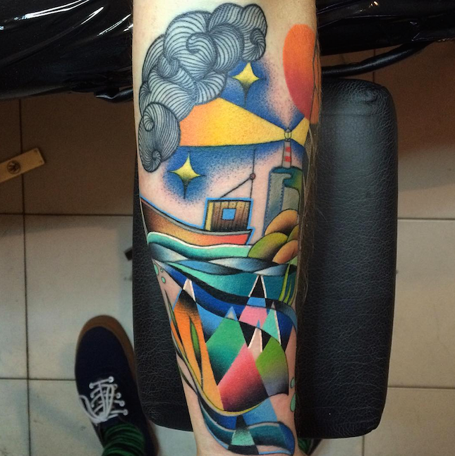 Surrealism style colored forearm tattoo by Mariusz Trubisz