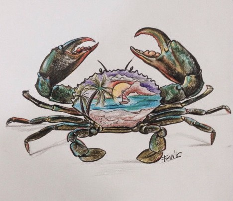 Swamp-color crab with colorful beach view ornament tattoo design