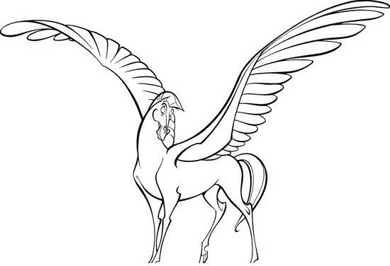 Sweet animated colorless pegasus tattoo design