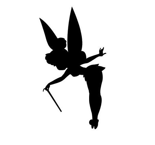Sweet animated fairy with a thin wand tattoo design
