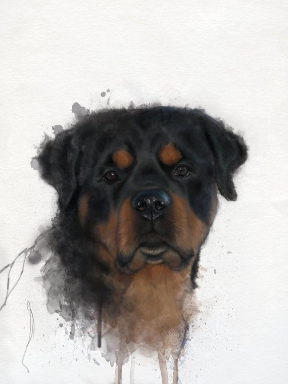 Sweet black-and-brown rottweiler puppy in smudges tattoo design
