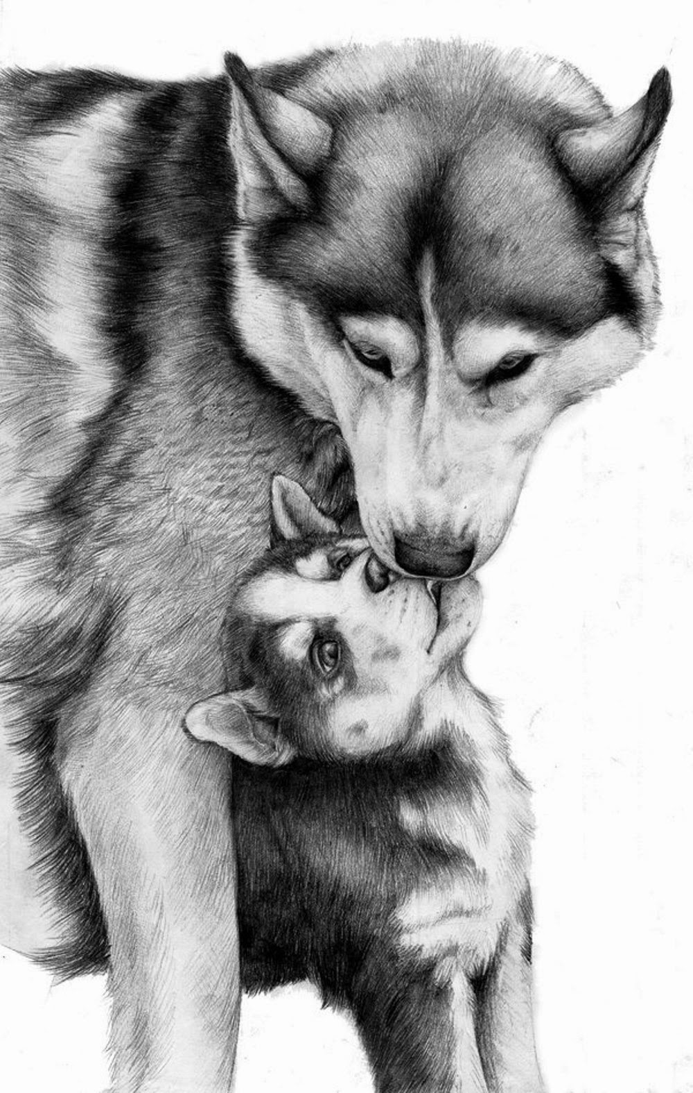 sweet black and white leaking wolf mom and her baby tattoo design. Black Bedroom Furniture Sets. Home Design Ideas