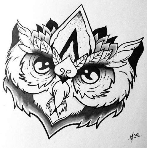 Sweet black-and-white owl head with leaf decorations tattoo design