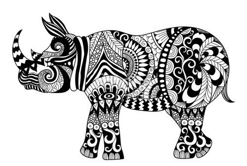 Sweet black-ink folk-patterned rhino tattoo design