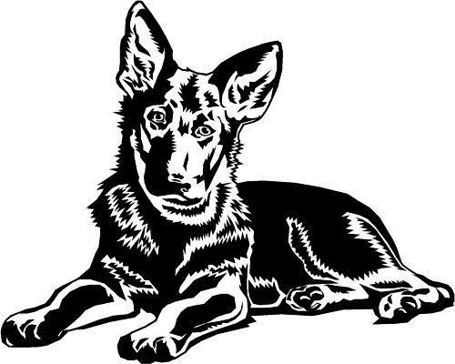 Sweet black-ink lying german shepherd puppy tattoo design