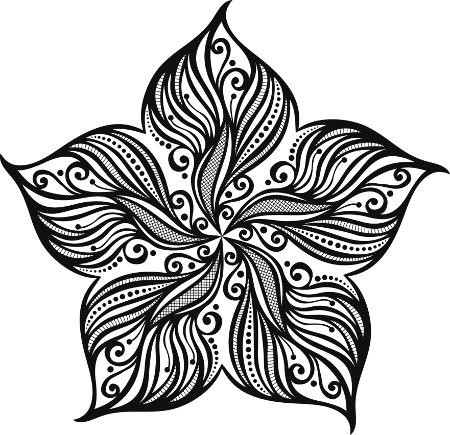 Sweet black-ink starfish with flower petal ends tattoo design