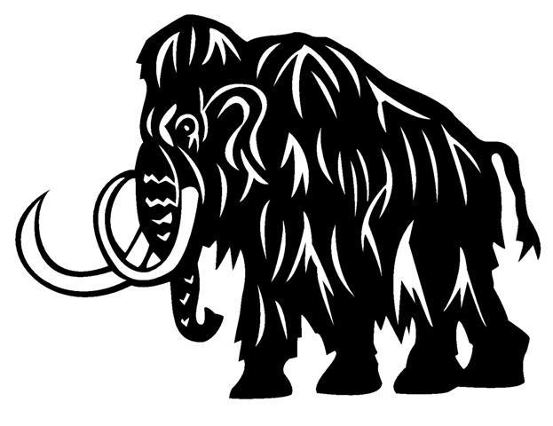 Sweet black-ink tribal mammoth tattoo design