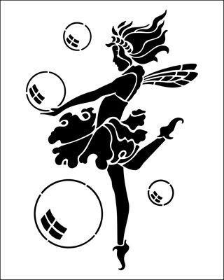 Sweet black fairy with falling bubbles tattoo design