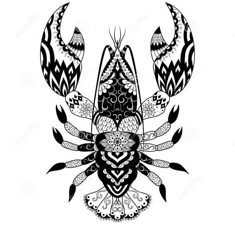 Sweet black folk-printed water animal tattoo design