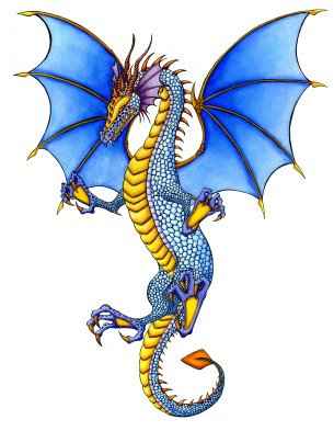 Sweet blue flying dragon with yellow belly tattoo design