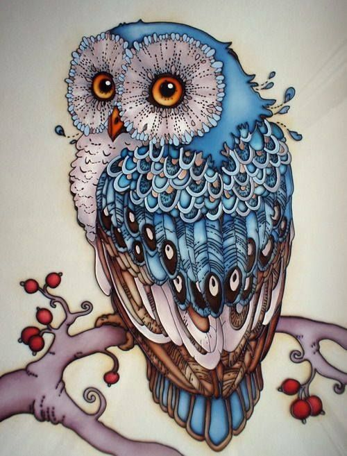 Sweet blue owl sitting on berried branch tattoo design