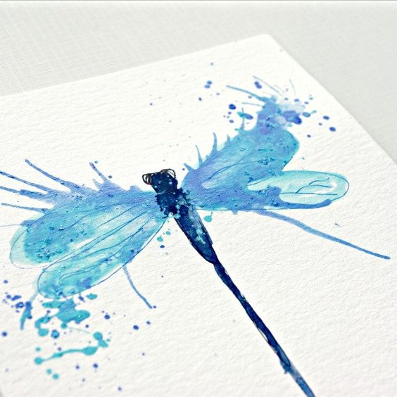 Sweet blue watercolor dragonfly tattoo design