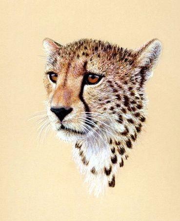 Sweet brown-eyed cheetah baby portrait tattoo design