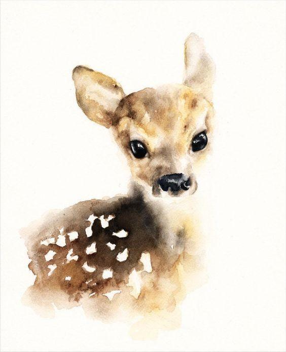 Sweet brown watercolor animal baby tattoo design