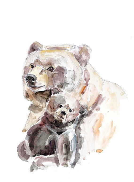 Sweet brown watercolor grizzly family tattoo design