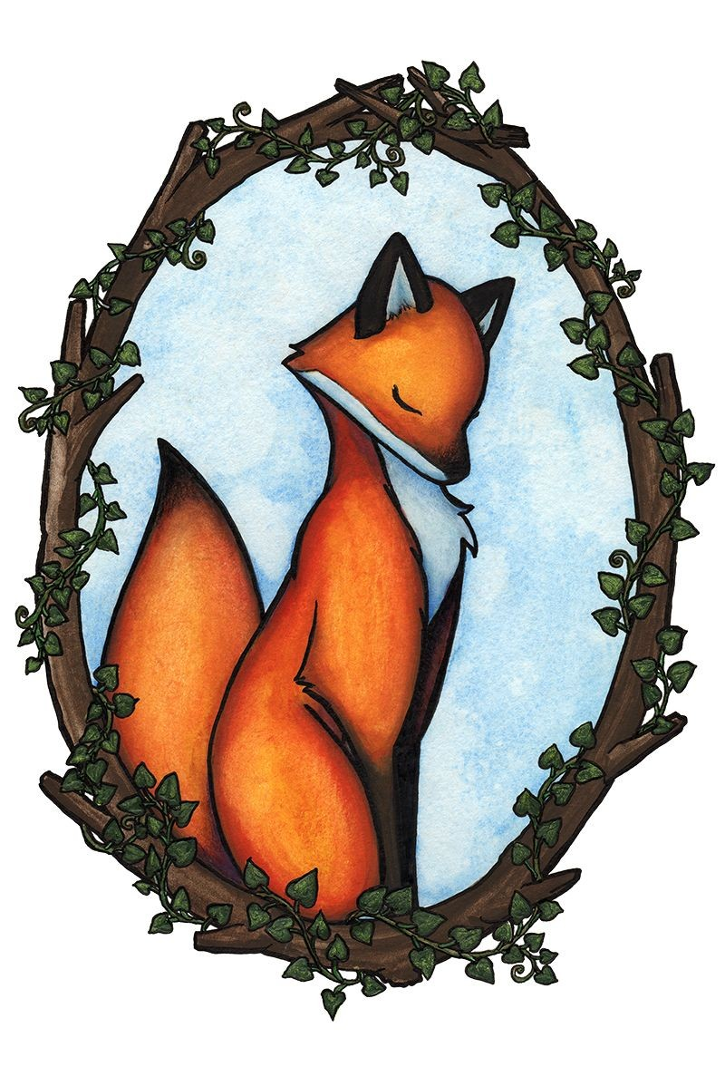 Sweet cartoon colorful fox sitting in wooden frame tattoo design