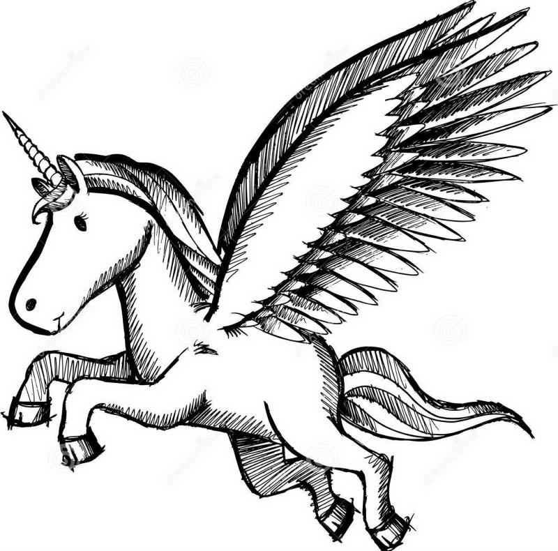 Sweet cartoon flying unicorn pegasus tattoo design