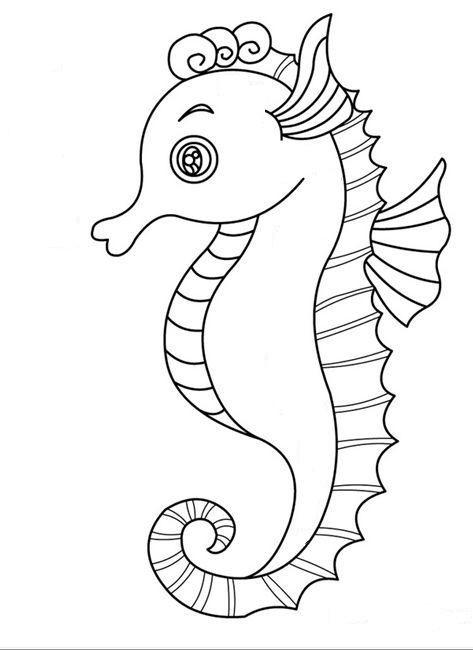 Sweet cartoon outline seahorse tattoo design