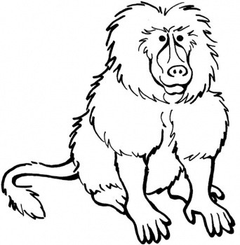 Sweet cartoon uncolored baboon tattoo design