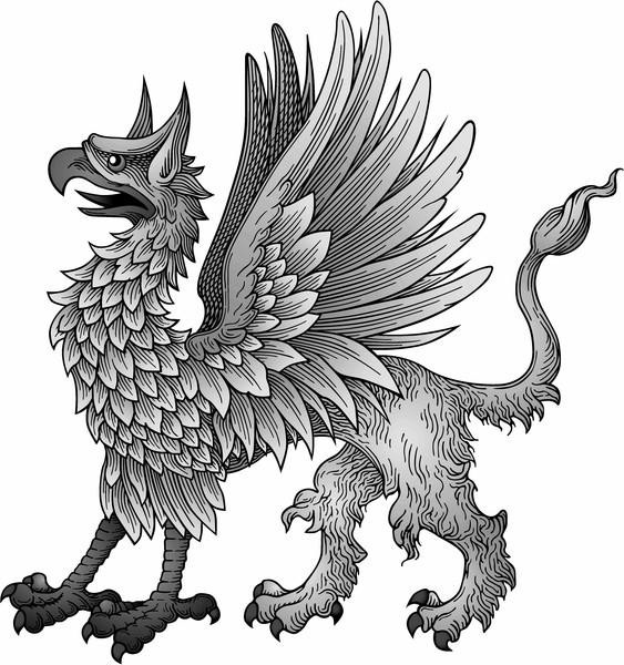 Sweet classic grey griffin with angry face tattoo design