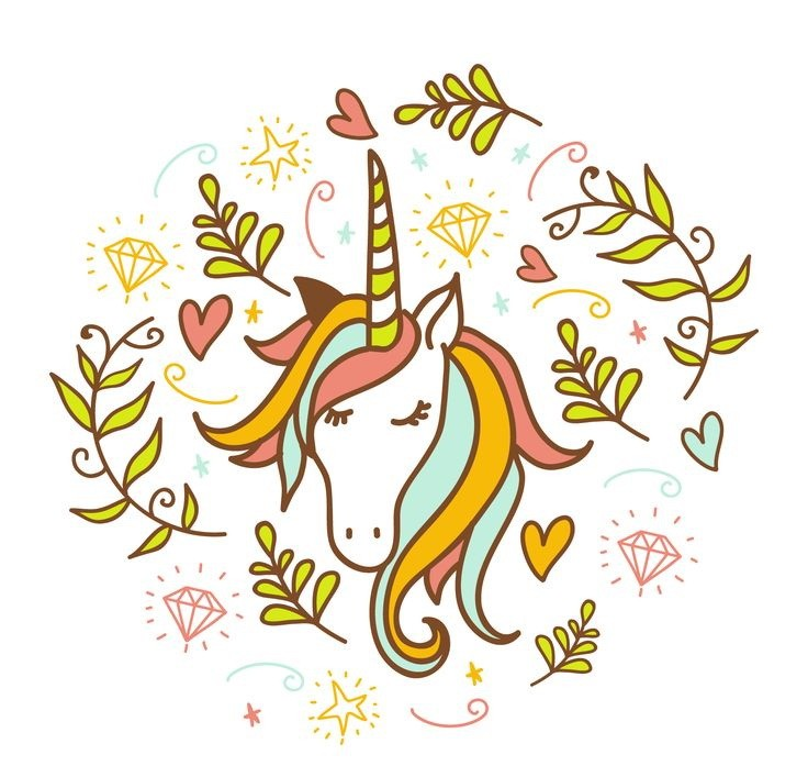 Sweet colored close-eyed unicorn head surrounded with branches and diamonds tattoo design