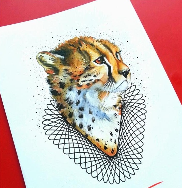Sweet colorful cheetah baby portrait with geometric elements tattoo design