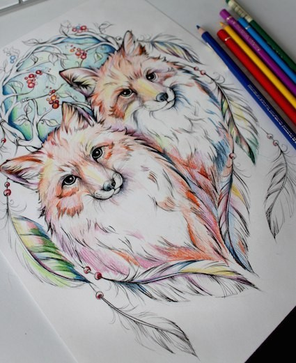 Sweet colorful fox couple on nature background tattoo design