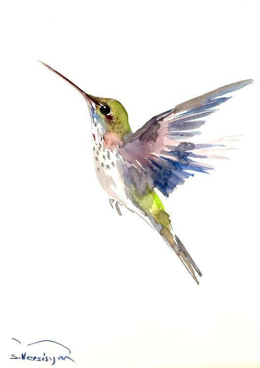 Sweet colorful hummingbird rising to the sky tattoo design