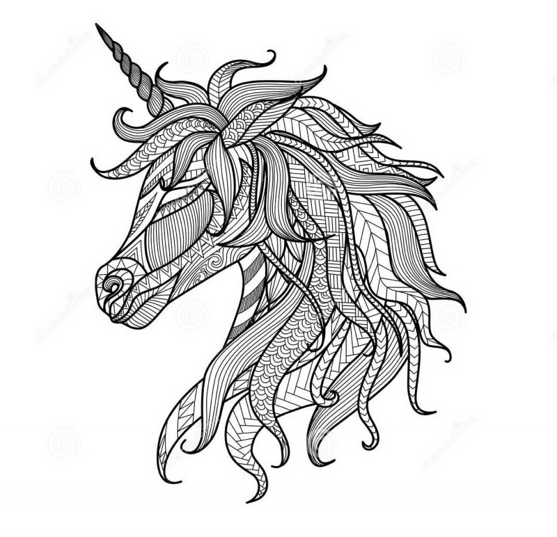 Sweet colorless patterned unicorn head in profile tattoo design
