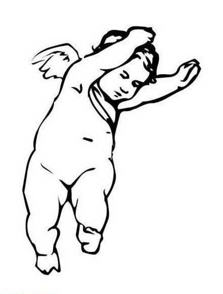Sweet dancing cherub angel tattoo design