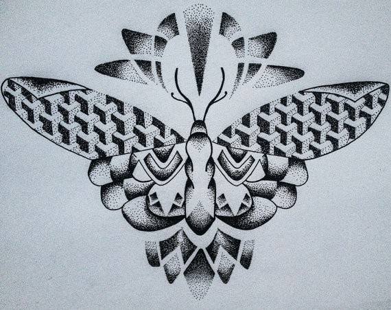 Sweet dotwork moth with geometric patterns tattoo design