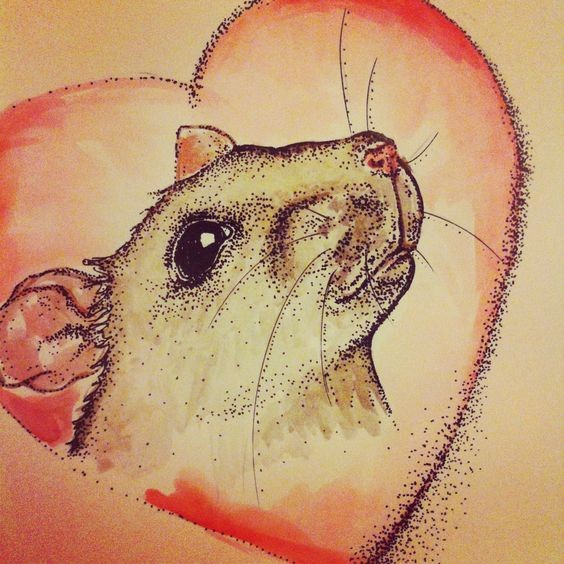 Sweet dotwork mouse head in red heart tattoo design