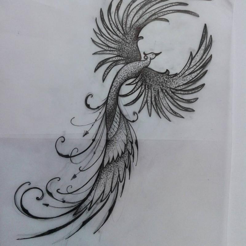 sweet dotwork rising phoenix tattoo design. Black Bedroom Furniture Sets. Home Design Ideas