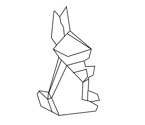 Sweet geometric origami-style hare baby tattoo design