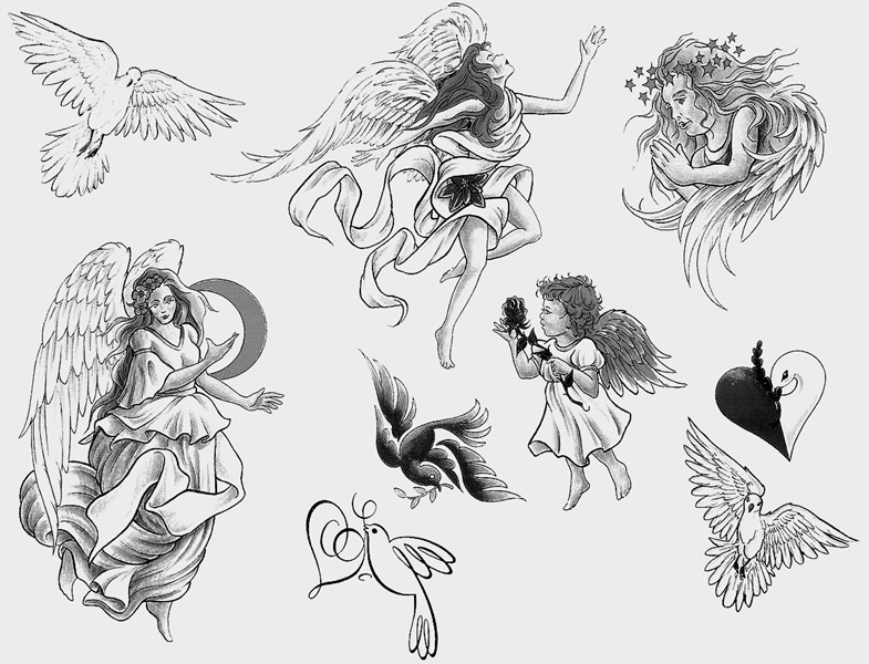 Sweet girl and cherub angels in grey color tattoo designs